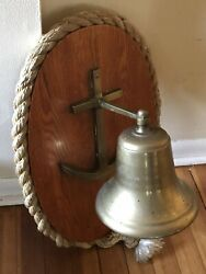 Vintage Solid Brass Shipandrsquos Bell W/ Wood Wall Mount Nautical Rope School Dinner