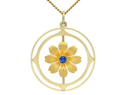 Antique 1910 Sapphire And 15carat Yellow Gold Pendant 18