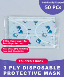 50PCs Individually Wrapped Blue Dinosaur Kids 3 Ply Disposable Face Mask $20.97
