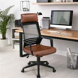 Mesh Office Chair With Leather Seat Desk Chair Computer Task Chair High Back