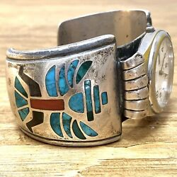 Turquoise Navajo Watch Cuff 7.25in Knifewing Chip Inlay Silver Vtg 1960s 144g