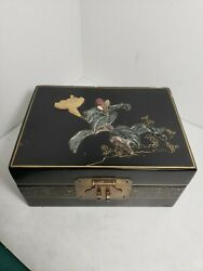 Vintage Asian Japanese Black Lacquer Mop Wood Flowers Trinket Jewelry Ring Box