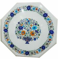 24x24 Marble Kitchen Side Table Top Pietra Dura Inlay Work Patio Decor