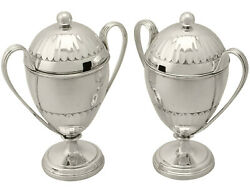 Antique Pair Of Sterling Silver Preserve Pots George V 546g Height 14.2cm