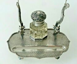 Antique Chinese Export Solid Silver Wang Hing Inkstand Dragon Inkwell China 1900