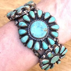 Old Navajo Indian Cuff Bracelet Flower Turquoise 95g 7in Silver 60s Vtg Signed