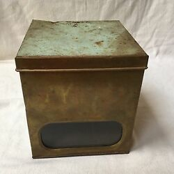 Vintage Canco Biscuit Bread Store Display Tin Box W/ Brass Front And Glass Window