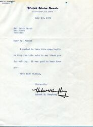 Hubert H. Humphrey . Autograph . Hand Signed . 8-10 Inch . Good Condition .