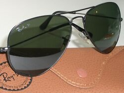 RAY BAN ITALY RB3025 58 14 POLARIZED CRYSTAL LENS BLACK AVIATOR SUNGLASSES $174.99
