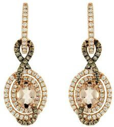 2.37ct White And Mocha Diamond And Aaa Morganite 14k Rose Gold Oval Hanging Earrings