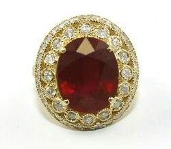 Natural Oval Red Ruby And Diamond Halo Solitaire Ring 14k Yellow Gold 14.72ct