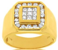 Large 1.0ct Diamond 14k Yellow Gold Princess And Round Invisible Octagon Mens Ring
