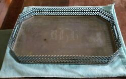 Large Sterling Silver Handled Tray Reticulated Side Walls 76 Ozt Monoand039d