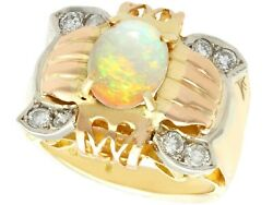 Vintage 1940s 1.55ct Opal And Diamond 18ct Yellow Rose And White Gold Dress Ring