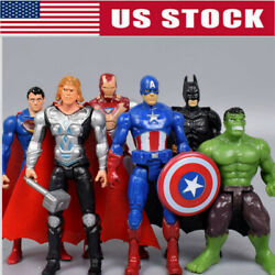 6Pcs Set Avengers Batman Hulk Thor Iron Man Superman Action Figure Toy Kids Gift