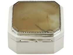 Antique Georgian Sterling Silver And Hardstone Box 1781