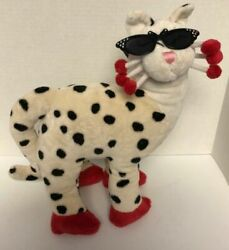 WhimsiClay SHANICE Cat 15quot; Plush Leopard Polka Dots Sunglasses Amy Lacombe