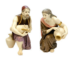 Pair Royal Worcester Porcelain Figurines, Man And Woman With Water Jars, 1880