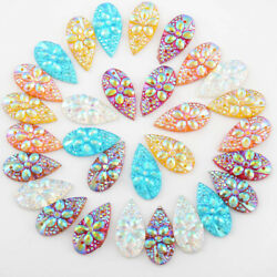 40Pcs 10*20mm 0.39*0.79 in Drop Resin Rhinestone Bags Clothes Decoration 2 Hole $1.99