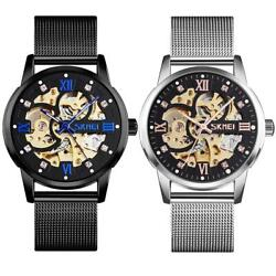 Skmei Mens Automatic Skeleton Steampunk Watch Metal Mesh Strap Crystal Markers