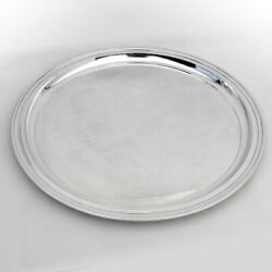 Modernist Round Tray Sterling Silver 1950s