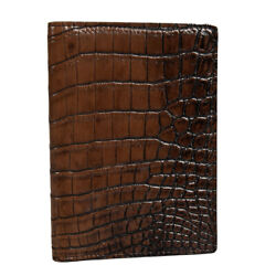 NEW ZILLI PASSPORT AND CREDIT CARD HOLDER 100% CROCODILE LEATHER ZBAU5