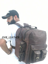 16quot; Five Pocket Leather Vintage Messenger Backpack Sholder Rucksack Travel Bag $73.47