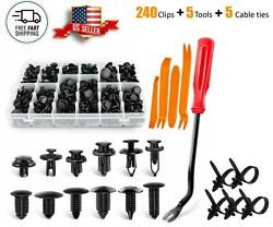 240pcs Push-type Retainer Body Clips Shield Clips With Bonus Fastener Remover