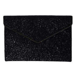 Rebecca Minkoff Glitter Leo Clutch Black NWT Authentic $47.96