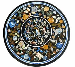 Marble Top Restaurant Table Multi Stone Floral Marquetry Inlay Hallway Decor