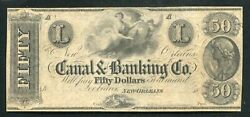 1800's 50 Canal And Banking Company New Orleans, La Obsolete Remainder Unc