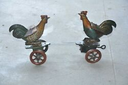 Vintage Wind Up Litho Fighting Rooster/cock German Tin Toy,germany