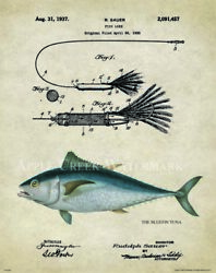Saltwater Bluefin Tuna Fishing Patent Print Lures Reels Sushi Office Wall Decor