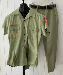 Vtg Scout Masters 2pc Pants Outfit Sz L 60and039s Boy Scouts Patches Olive W/ Belt
