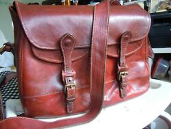 VG HOLLAND USA old Leather Professional Briefcase Messenger Large USA $199.00
