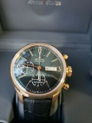 Special Reduced Menand039s Bulova Accuswiss Murren Chronograph Brown Leather Watch