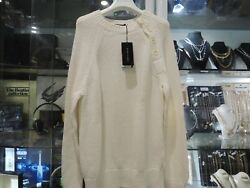 Black Lable - Jumper W/ Side Buttons - White - Size L