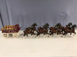California Poppytrail Pottery Metlox Budweiser 8 Clydesdale Horse Hitch And Wagon