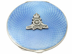 Antique George Vi Sterling Silver And Enamel Compact