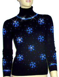 Luxe Oh` Dor 100% Cashmere Sweater Luxury Snowflakes Black Royal 461623.1oz