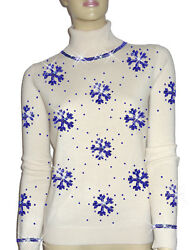 Luxe Oh` Dor 100% Cashmere Sweater Luxury Snowflakes Pearl White Sapphire 46