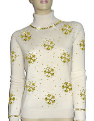 Luxe Oh` Dor 100% Cashmere Sweater Luxury Snowflakes Pearl White Gold 3436 S
