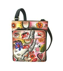 Holiday Special 100% Leather hand painted organizer crossbody by Biacci Couture $54.00