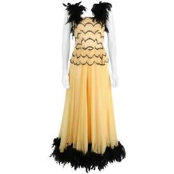 Ooak Vtg 1930and039s - 1940and039s Black Feather Trim Evening Ballroom Dance Dress Gown Xs