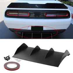 Black Shark Fin Rear Bumper Diffuser Valance Lip-painted Abs Plastic For Dodge