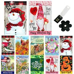 Garden Flags Set Of 10 12x18 Double Sided Fall Yard Flags With Wind Clip Stopper