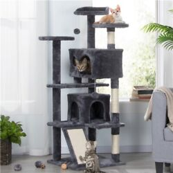 55quot; Pet Cat Tree Play Tower Bed Furniture Scratching Post Perches House