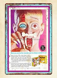 Fright Factory Toy Vintage Ad 1967 Metal Tin Sign Cafe Pub Coffee Shops Art