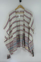 Charming Charlies Nwt Open Front Wrap Poncho White W/ Blue And Coral Stripes