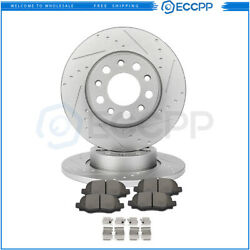 Rear Discs Brake Rotors Ceramic Pads For Fiat 500x Jeep Compass Renegade Slotted